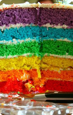 Wouldn't this be a brilliant surprise at a birthday party, cutting into a cake and seeing all these colours.  I have to do this.