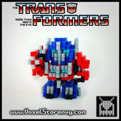 This is Optimus Prime from (Transformers) in the cool new 3d perlerbead art style!   Products are made to order and do take about a week to make depending on the order.  Please Like Voxel on Facebook! http://facebook.com/voxelperlers  (These products are for sale, therefore I do not give o...