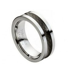 Tungsten Wedding Ring Wedding Band for Men with Black by RoseOwl, $54.99