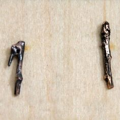 Cast Bronze Twig Earrings by Laura Prieto-Velasco  Hunter Gatherer Jewelry