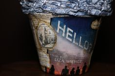 Close-up of the base for HELLO?topiary by Amy Reale of Wicked Bookcraft.
