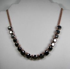 Fossil Brand Gunmetal Glamour Rose Gold Tone Hematite Glass Necklace MSRP $68 ...Only $46.99 with free shipping!!