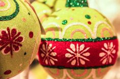 Red And Green Christmas Ornaments Print by RedHedgePhotos on Etsy, $9.99