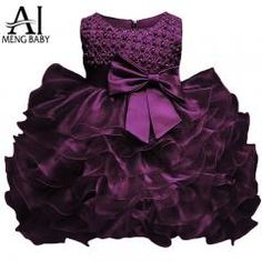 [ 58% OFF ] Ai Meng Baby Little Girl 1 Year Birthday Party Dress Newborn Christening Gown Fluffy Purple Baby Dresses For Baptism Wedding 2T