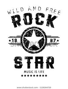 Rock Star text slogan graphic design, fashion print for t shirt and other uses. Silkscreen, Polo Shirt Outfits, New York T Shirt, Print Design, Logo Design, Kids Prints, Grafik Design, Star Wars, Boys T Shirts