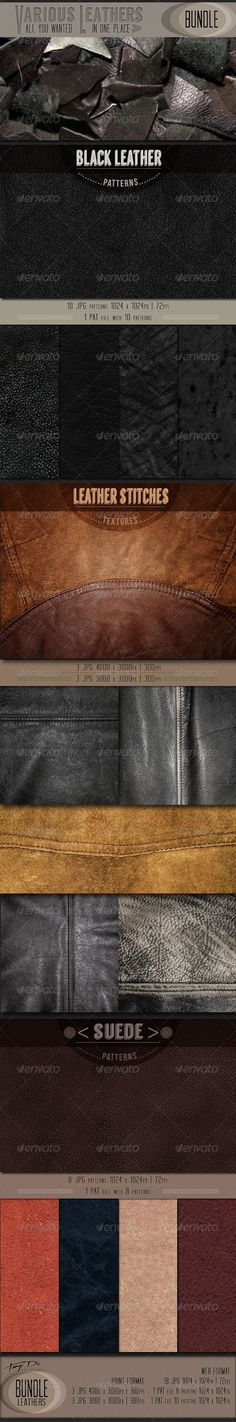 Various Leathers | Bundle - Miscellaneous #Textures Download here: https://graphicriver.net/item/various-leathers-bundle/6906103?ref=alena994