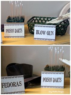 Indiana Jones Party www.aboyslife.etsy.com Blow Dart Guns, Blow Darts & Fedoras Indiana Jones Birthday Party, 6th Birthday Parties, 9th Birthday, Indiana Jones Adventure, Movie Party, Party Entertainment, Printable Cards, Party Themes, Party Ideas