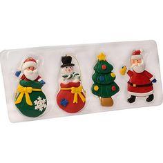 Enfeites de Árvore Figuras do Natal 4 Unidades 9cm -  Orb Christmas