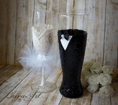 Wedding Champagne Flutes Black & White Wedding Champagne Glasses Wedding…