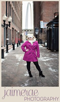 Jaimerae Photography Senior Bailey // Class of 2016 // Winter Session // Senior Style // Pink Coat // Beautiful Blonde // Downtown St. Louis