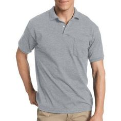 Hanes Men's Comfortblend EcoSmart Jersey Polo with Pocket, Size: Large, Silver