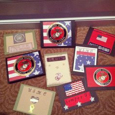 Handmade marine cards Military Cards, Marines Girlfriend, Pen Pals, Semper Fi, Craft Corner, Marine Corps, Usmc, Handmade Cards, Card Ideas
