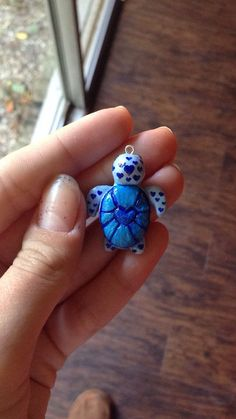 Adorable Heart Shell Turtle Polymer Clay Charm