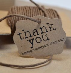 Rustic Typewriter Font Gift Tags Thank You Tags by HomegrownGems, $16.00