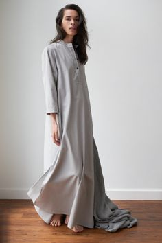 A floor length Morocco chemise nightgown or house dress made from a luxurious grey flannel. Ethically made in Canada by The Sleep Shirt. Flannel Nightgown, Grey Flannel, House Dress, Sleep Shirt, Modest Outfits, A Line Skirts, Night Gown, Dress Making, Morocco
