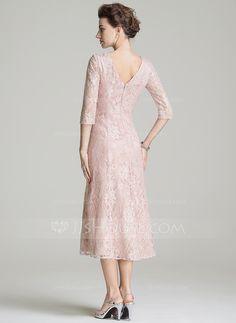 A-Line/Princess Scoop Neck Tea-Length Lace Mother of the Bride Dress (008072720)