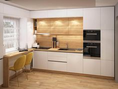 Bucatarie simpla, cu rafinament - Proiecte | ArtDecor House Minimal Kitchen Design, Kitchen Room Design, Kitchen Layout, Home Decor Kitchen, Interior Design Kitchen, Kitchen Furniture, Home Kitchens, Small Modern Kitchens, Modern Kitchen Interiors