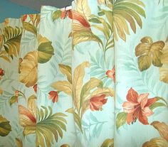 Damn, I want some Aqua Tropical Print curtains for the lounge not the bathroom!