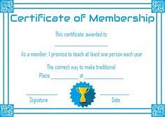 Free Club Membership Certificate Template  Free Membership