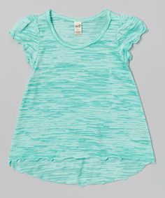 Another great find on #zulily! Ice Green Burnout Lettuce-Edge Tee - Toddler & Girls by Kavio! #zulilyfinds