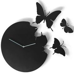 Butterfly wall clock design.