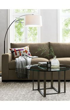 Dexter Arc Floor Lamp with White Shade | Crate and Barrel