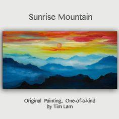 Mountain skyline Oil Painting,Original Abstract Painting blue skyline Landscape Painting Rising Sun by tim lam 48x24x1.3