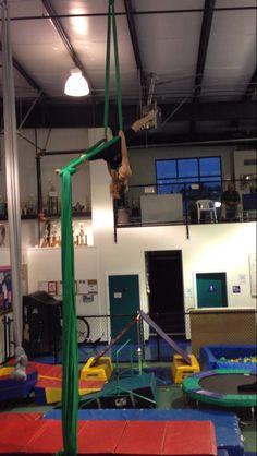 Upside down aerial silks full splits