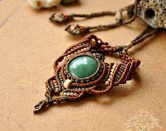 Ethnic Crysocolla macrame necklace ~ ethnic , tribal , boho , bohemian , hippie…