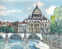 Impresión de una acuarela original de arte Italia Roma Sant Angelo puente