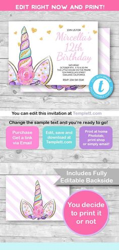 Unicorn invitation Unicorn party invitation Unicorn horn Printable Invitation Unicorn birthday Invitation Birthday Girl pink invite by RainySmile
