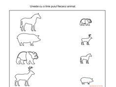 Uneste cu o linie puiul fiecarui animal. Activities, Math, Simple Lines, Math Resources, Early Math, Mathematics