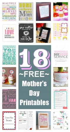 diy home sweet home: 18 Free Mothers Day Printables
