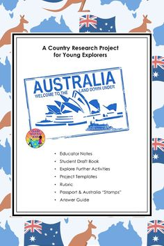Teaching kids about Australia? Our country research project guides elementary students through the investigation of the country's geography and culture. It includes graphic organizers for note-taking, project templates for creating a final presentation, extension activities, a #GlobeTrottinKids passport, #Australia stamp & more! Great for remote learning projects, passion projects, independent, small group, or whole class projects! #researchproject #interactivenotebook #remotelearning…