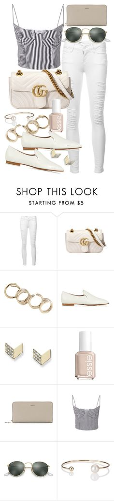 """""""Untitled #21010"""" by florencia95 ❤ liked on Polyvore featuring Frame, Gucci, Jil Sander, The Row, FOSSIL, Essie, DKNY, Ray-Ban and Letters By Zoe"""