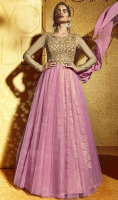 Salmon and Beige Color Net Embroidered Floor Length Anarkali Suit