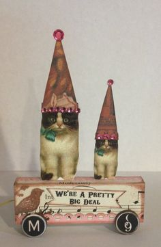 Fairy Cat Kitty HandMade vtg Mixed Media Altered Folk aRt Prim Collage Pull Toy ooak