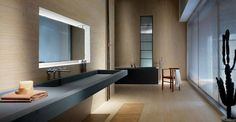 lavabo y bañera de color negro en el baño moderno