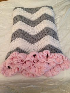 BACK IN STOCK! Beautiful Crochet Baby Blanket - White and Grey Chevron with Pink Ruffle Trim on Etsy, $50.00