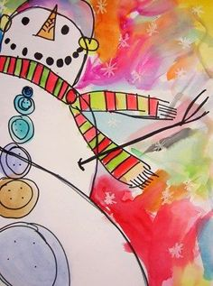 Grade 2 worm's eye view of snowman, like the use of oil pastel resist plus the brightness of the watercolors!