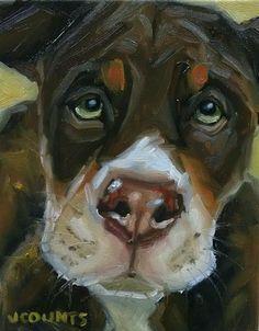 "KYLE BUCKLAND JENN COUNTS FARM ART dog Staffordshire Terrior ANIMAL OIL PAINTING A DAY Impressionism FINE ART WALL ART DOG LOVERS HOME OFFICE DECOR COLLECTIBLE ""Ringo"" 8""x10"""