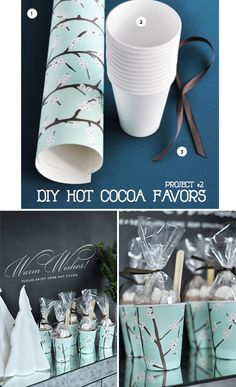 DIY - Paper Cup Hot Cocoa Favors - Full Step-by-Step Tutorial. PDF Template for Cup Cover found here: http://www.utterlyengaged.com/download/T+T_PaperCupWrap_Template.pdf Full Tutorial found on Page 156 of Utterly Engaged Magazine.