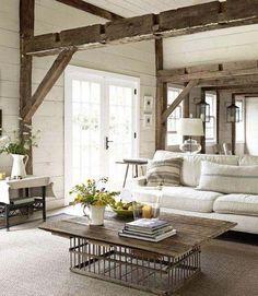 industrial rustic living room - great coffee table