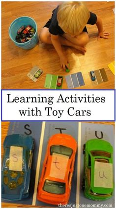 Do you have a preschooler who loves cars? These car learning activities will engage them in some fun hands-on learning activities to work on ABCs and colors. Try these great car learning activities with your preschooler today! Activities For Boys, Letter Activities, Preschool Learning Activities, Educational Activities, Car Learning, Hands On Learning, Toddler Learning, Cars Preschool, Teaching Abcs