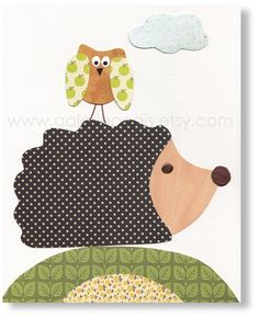 Baby Nursery Decor Hedgehog Promenade En Foret by GalerieAnais. $14.00 USD, via Etsy.