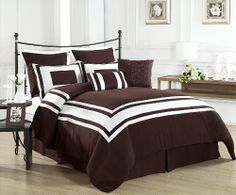 "Lux Décor Collection 8 Pieces Comforter Set BROWN, White Stripe - KING size Bedding by CozyBeddings. $62.99. 1 Square Decorative Pillow 18"" x 18"", 1 Bolster 12"" x 18"". 1 KING size Comforter 104"" x92"", 1 Dust Ruffle 78"" x80"" +14"".. 2 Standard Pillow Sham 20"" x36"", 2 Euro Shams 26"" x26"".. 100% Polyester, Machine Wash Cold, Gentle Cycle. 8 Pieces Comforter set with Embroidered Square Pillow. Wrap yourself in the Softness of the Lux Décor Comforter Set found in World Class..."
