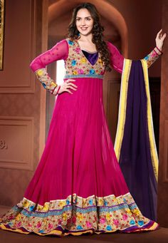 "Desginer Suit !""Pink #Georgette kameez designed with Zari,Resham Embroidery with stone work,patch patta Work. Available with Pink #Santoon Bottom with matching #Chiffon Dupatta.   With exciting Flat 30% discount! INR :-5677"