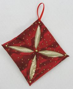Quilted Christmas Ornament  Red and Gold Cathedral by NoelBelles, $4.50