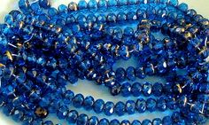 Blue Faceted Rondelles 9x6 Ocean Goddess