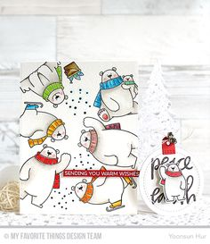 RejoicingCrafts: MFT November Release Countdown Day 4. MFT Polar Bear Pals Stamp Set & Die-namics. #christmas #polarbear #watercolor #mftstamps #handmade #card #stamping